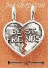 "Sterling Silver SMALL ANTIQUED ""BEST FRIENDS"" 2 PIECE HEART CHAR"