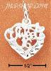 "Sterling Silver SMALL ""SWEET 16"" IN HEART CHARM"