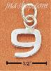 "Sterling Silver FINE LINED ""9"" CHARM"