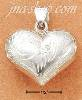 Sterling Silver 25MM WIDE ETCHED PUFFED HEART CHARM