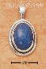 Sterling Silver OVAL DENIM LAPIS PENDANT W/ IN OVAL FRAME