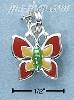 Sterling Silver ENAMEL RED YELLOW & GREEN BUTTERFLY CHARM