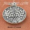 Sterling Silver ANTIQUED OVAL CHECKERED FLAGS CHARM
