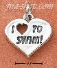 "Sterling Silver ""I HEART TO SWIM!"" HEART CHARM"