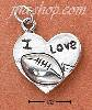 "Sterling Silver ""I LOVE FOOTBALL"" HEART CHARM"
