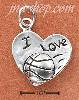"Sterling Silver ""I LOVE BASKETBALL"" HEART CHARM"