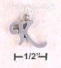 "Sterling Silver ""K"" SCROLLED CHARM"