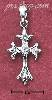 Sterling Silver SMALL CROSS W/ BRANCHED ENDS & ROUND CZ IN CENTE