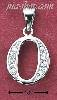 "Sterling Silver HIGH POLISH & CZ NUMBER 0 CHARM (1/2"" W/OUT BA"