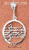 Sterling Silver ROUND MUSIC STAFF WITH G-CLEF & NOTES CHARM
