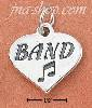 "Sterling Silver ""BAND"" WITH NOTE HEART CHARM"