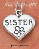 "Sterling Silver ""SISTER"" WITH FLOWER ON HEART CHARM"