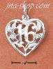 "Sterling Silver ""16"" FILIGREE HEART CHARM"