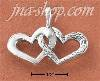 Sterling Silver ANTIQUED DOUBLE HEART CHARM (1 SMOOTH HEART - 1