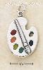 Sterling Silver ARTIST PALETTE W/PAINT AND BRUSH CHARM