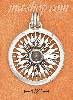 Sterling Silver LARGE COMPASS ROSE W/ BLUE TOPAZ GEMSTONE CHARM