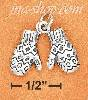 Sterling Silver 3D ANTIQUED MITTENS CHARM