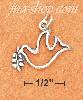 Sterling Silver PEACE DOVE OUTLINE CHARM W/ LEAVES