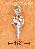 "Sterling Silver 3D 3/4"" ICE CREAM CONE CHARM WITH MULTI COLOR PA"