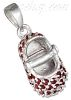 Sterling Silver JANUARY LARGE GARNET COLORED CZ BIRTHSTONE BOOTI