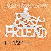 "Sterling Silver HIGH POLISH FLAT ""BEST FRIEND"" CHARM"