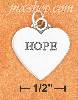"Sterling Silver FLAT HIGH POLISH ""HOPE"" HEART CHARM W/ ANTIQUE L"