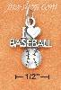 "Sterling Silver ANTIQUED ""I HEART BASEBALL"" WITH BASEBALL CHARM"