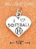 "Sterling Silver ANTIQUED ""I HEART SOFTBALL"" HEART CHARM"