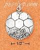 "Sterling Silver SLIGHTLY DOMED ""I LOVE SOCCER"" CHARM"