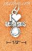 "Sterling Silver ANTIQUED ""I HEART TENNIS "" WITH TENNIS BALL CHAR"