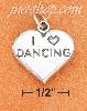 "Sterling Silver HIGH POLISH ""I HEART DANCING"" HEART CHARM W/ ANT"