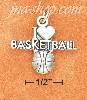 "Sterling Silver ANTIQUED ""I HEART BASKETBALL"" WITH BASKETBALL CH"