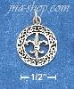 Sterling Silver ANTIQUED 15MM ROUND CELTIC WREATH CHARM WITH FLE