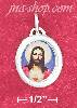 Sterling Silver 16MM HP COLORED JESUS OVAL PENDANT W/ CLEAR EXTE