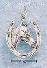 Sterling Silver ANTIQUED HORSESHOE W/ HORSE HEAD CHARM