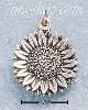 Sterling Silver SMALL ANTIQUED SUNFLOWER CHARM