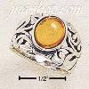 Sterling Silver ANTIQUED FILIGREE BAND W/ 9X7 OVAL AMBER STONE S