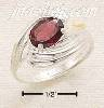 Sterling Silver SIDE SWIRL SHANK W/ OVAL GARNET RING SIZES 5-9