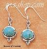 Sterling Silver SIDE LAYING OVAL TURQUOISE EARRINGS ON FRENCH WI