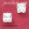 Sterling Silver 7MM SQUARE CUBIC ZIRCONIA POST EARRINGS