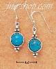 Sterling Silver ROUND TURQUOISE FRENCH WIRE EARRINGS W/ BEADS ON