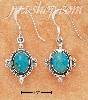 Sterling Silver OVAL TURQUOISE FRENCH WIRE EARRINGS W/ BORDER