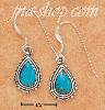 Sterling Silver TURQUOISE TEARDROP FRENCH WIRE EARRINGS W/ SCALL