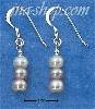 Sterling Silver TRIPLE TRICOLOR PEARL FRENCH WIRE EARRINGS