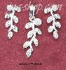 Sterling Silver CZ VINE POST EARRINGS AND PENDANT SET