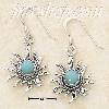 Sterling Silver ROUND TURQUOISE SUNFACE DANGLE FW EARRINGS