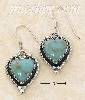 Sterling Silver TURQUOISE HEART W/ ROPED BORDER FW EARRINGS