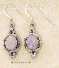 Sterling Silver PINK OPAL OVAL HATCHED BORDER FW EARRINGS