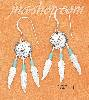 Sterling Silver CONCHO FW EARRINGS W/ TQ HESHI BEADS & FEATHERS