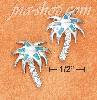 Sterling Silver PALM TREE POST EARS W/PAVE TRUNK & SYN BLUE OPAL